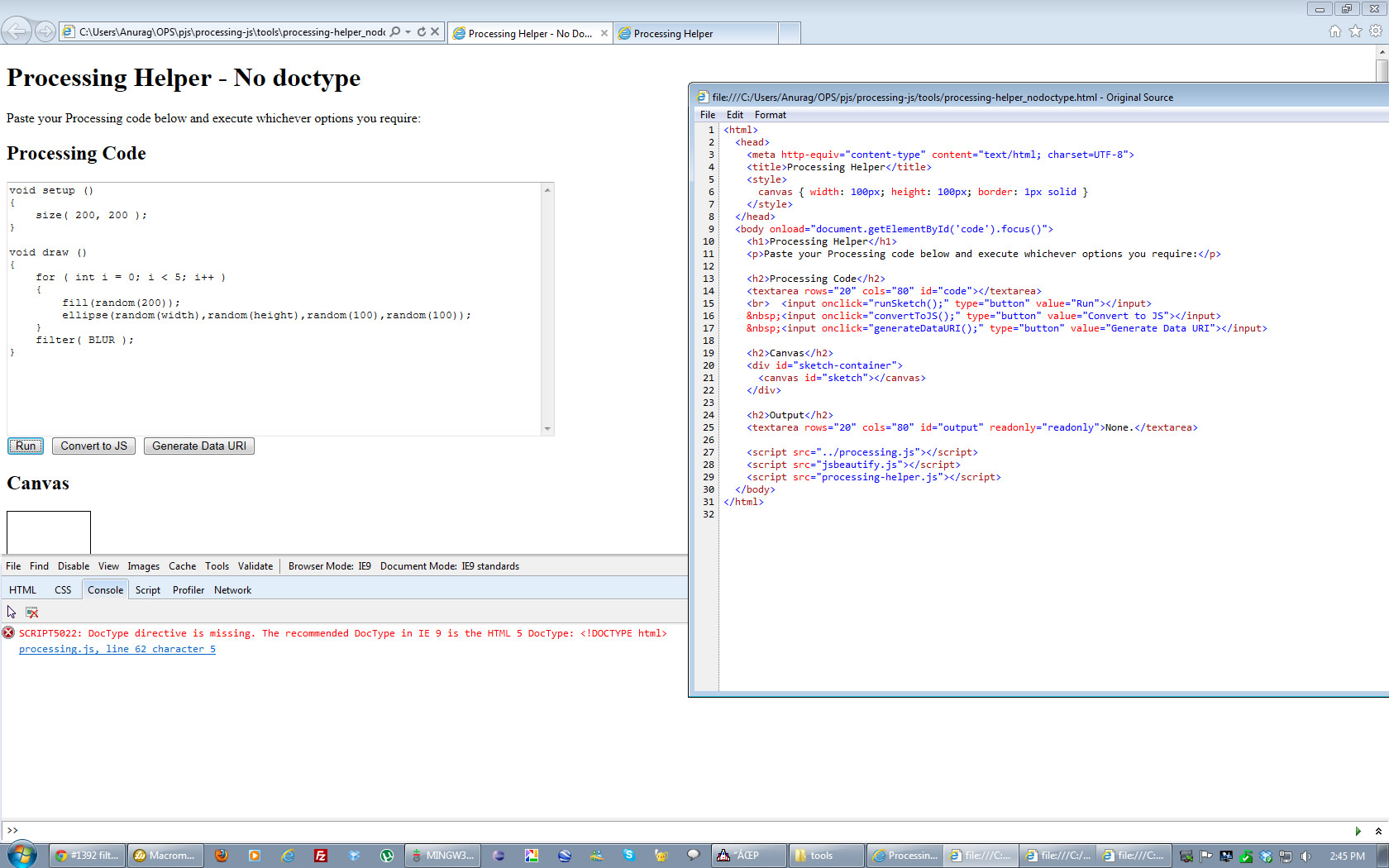 PJS sketch in IE9 without any Doctype