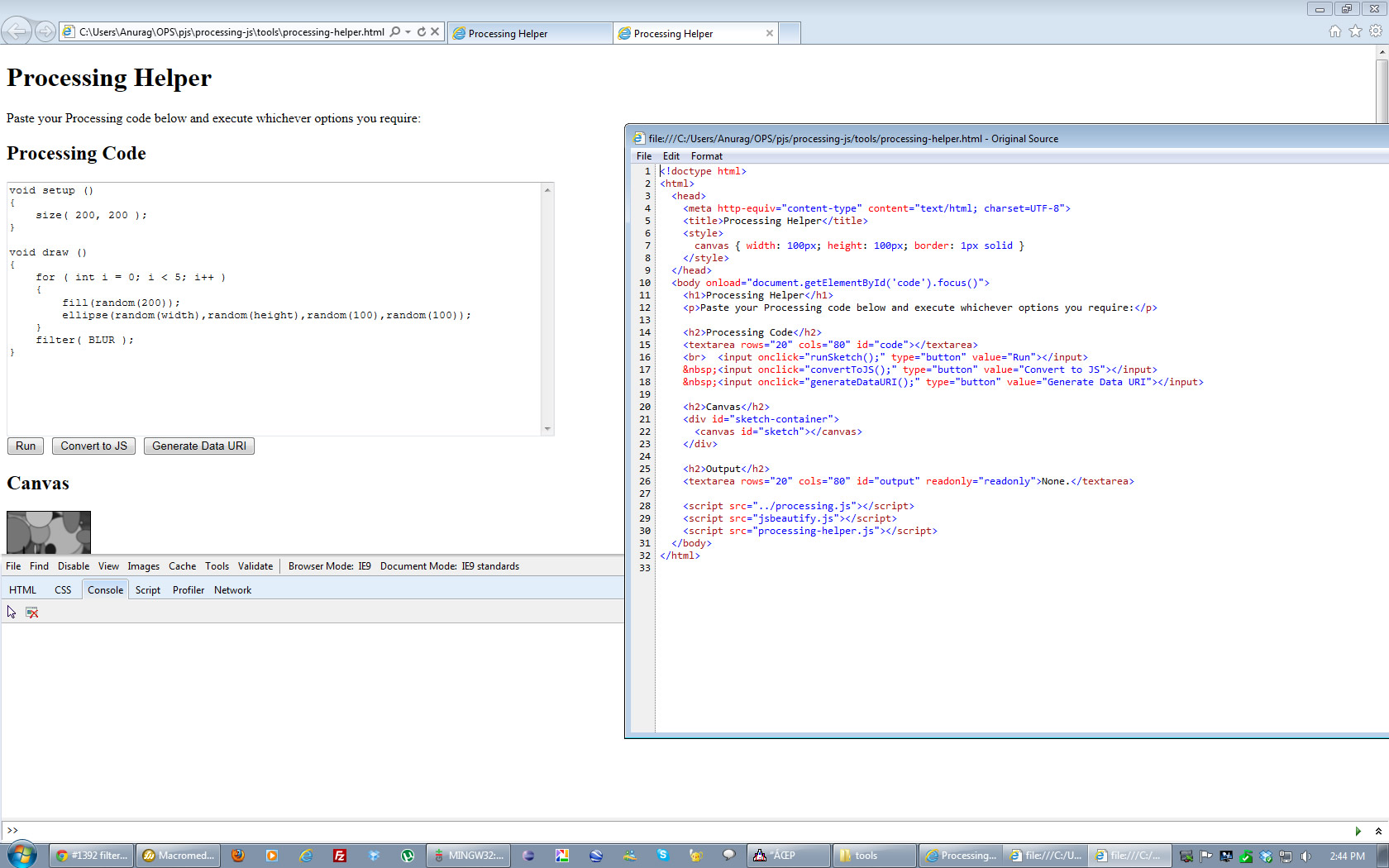 PJS sketch in IE9 with HTML5 Doctype